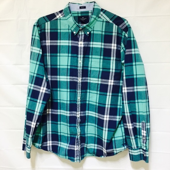 35c482f4cfdeec American Eagle Outfitters Other - AE Prep Fit Plaid Mens Shirt Navy Green  XXL